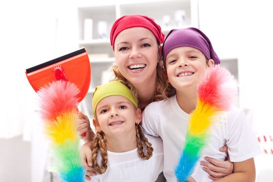 happy family clean your home