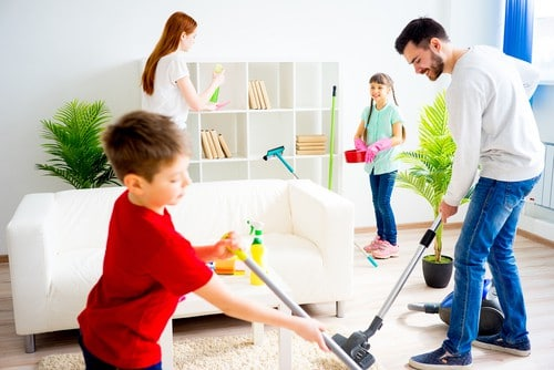 family helping house cleaning